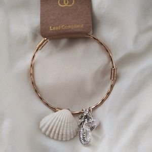 Metal Shell Charm Bangle Bracelet